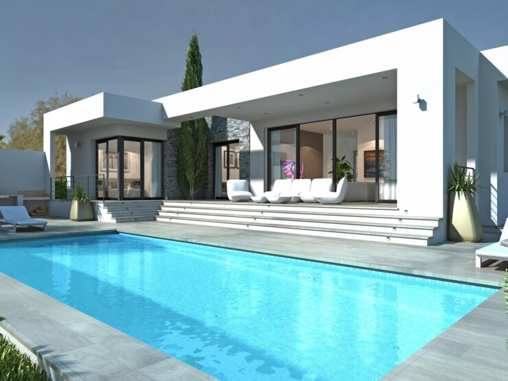 New Modern 3 bedroom 3 bathroom Villa all on one level 10 minutes walk to Moraira