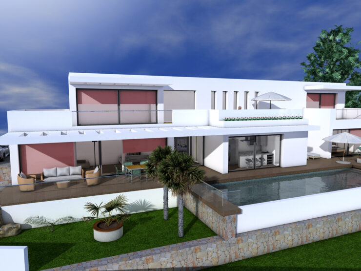 Luxury 3 bedroom and 3 bathroom Villa to be constructed. 10 Minutes walk to Moraira and the Coast