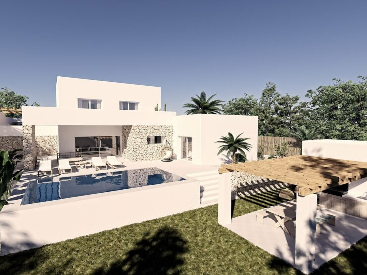Luxury new Ibiza style 4 bedroom and 5 bathroom villa. Walking distance to Moraira